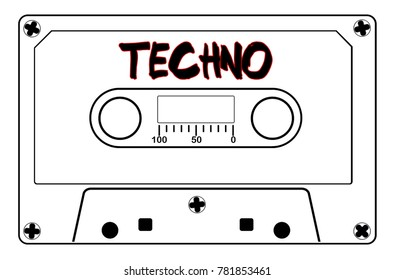 A typical old fashioned audio cassette in black line over a white background with text Techno