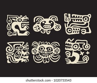 Typical Recuay  pre-Columbian South American  culture decorative motifs used for pottery ceramics, set of six