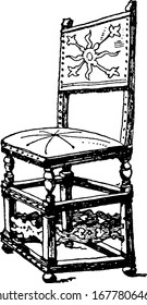A typical representation of the Dutch chair that was upholstered in leather, has legs, lacks arm and a single seat, vintage line drawing or engraving illustration.