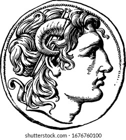 A typical representation of the silver coin of Alexander the Great, with his head on the coin of Lysimachus in 321-281 B.C., vintage line drawing or engraving illustration.