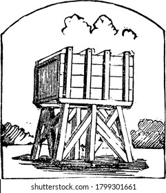 A typical representation of tank, a large basin or cistern mounted on a much elevated wooden cross legged stool-like structure for storing water, vintage line drawing or engraving illustration