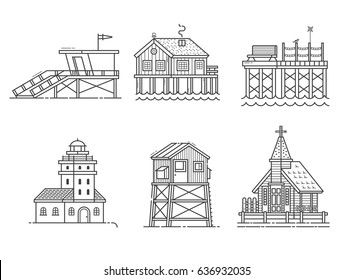 Typical seaside houses and buildings set. Fishing village or town constructor with lighthouse, life guard, pier, stilted house, observation tower and marine church in thin line design. Sea side icons.