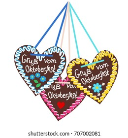 Typical souvenir at the Oktoberfest in Munich -gingerbread-heart, lebkuchenherz. Isolated on white background and typical pattern