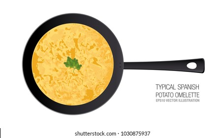 Typical Spanish potato omelette in a pan. Ornament parsley