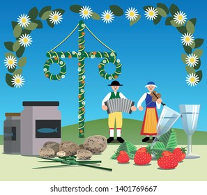 A typical Swedish midsummer with maypole, folk music, pickled herring, new potatoes, chive, snaps and strawberries.