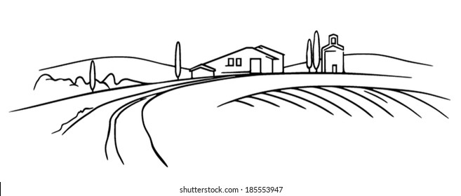Typical Tuscany landscape vector sketch, field and farm