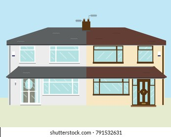 Typical UK fifties semi detached rendered house with extended porch