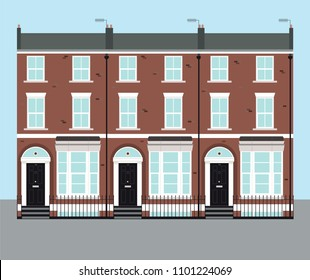 Typical UK terraced Georgian brick houses