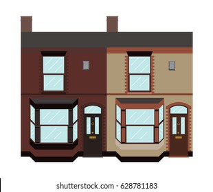 Typical UK terraced houses with bay windows