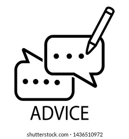 Typing Advice line icon. Graphic contour symbol of message bubble with pencil. Interface pictogram for mobile apps, websites, games, social media, instant messengers. - Vector