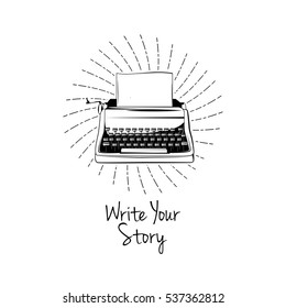 Typing machine. Write you story. Vector illustration isolated on white background