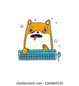 Typing on keyboard cat. Vector isolated illustration