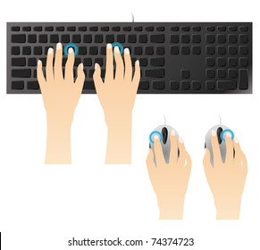 Typing on keyboard and mouse