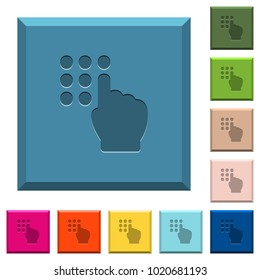 Typing security code engraved icons on edged square buttons in various trendy colors