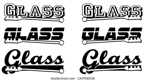 Typographed word glass with glass cutter vector illustration for sign or decal