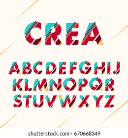 Typographic alphabet collection - Font design set - Colorful lettering with abstract lines