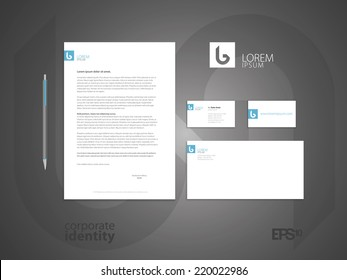 Typographic b logo. Elegant minimal style corporate identity template. Letter envelope and business card design. Vector illustration.