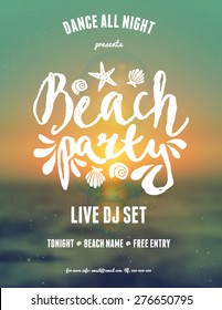 "Typographic beach party/music festival flyer design on a blurred sunset/sunrise background. Scalable to a standard 8,5"" x 11"" size. EPS 10 file, gradient mesh and transparency effects used."