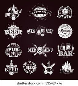 Typographic beer labels and logos drawn with chalk