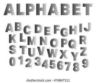 Typographic broken alphabet font template. Set of letters and numbers. Vector illustration.