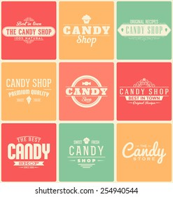 Typographic Candy Shop Themed Label Design Set
