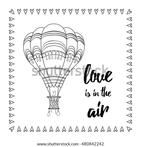 Typographic Card Hot Air Balloon Sayings Stock Vector Royalty Free