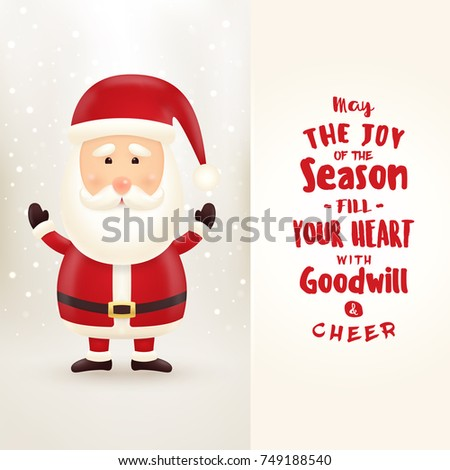 Typographic Christmas Greeting Card Santa Claus Stock Vector ...