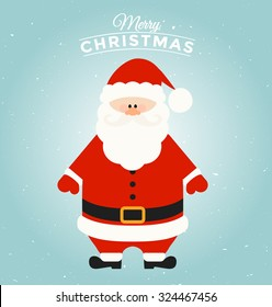 Typographic Christmas Greeting Card Template with Santa Claus Character - Merry Christmas