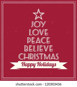Typographic Christmas Tree - Greeting Card
