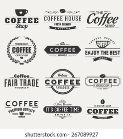 Typographic Coffee Themed label Design Set - A collection of nine dark colored vintage style coffee designs on light background