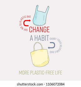 Typographic design of change a habit with plastic and reusable bag icon. More plastic-free life concept. Vector illustration.