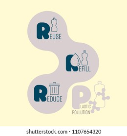 Typographic design icons of 3R rule to reduce plastic pollution. Vector illustration.