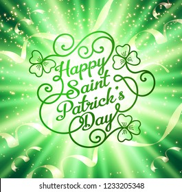 Typographic design template for Saint Patrick's Day with clover and festive holiday background