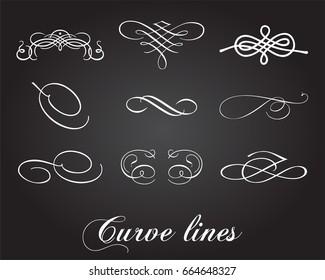 Typographic elements. Curve lines