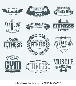 Typographic Fitness and Gym Themed Label Design Set