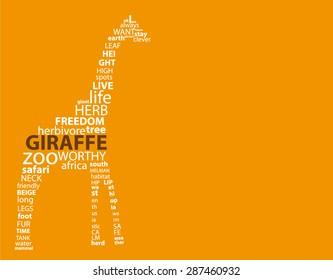 Typographic Giraffe On Simple Orange Background
