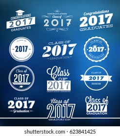 Typographic Graduation Designs - Class of 2017 - Graduation Ceremony Label Templates - Collection of Graduation Design Elements