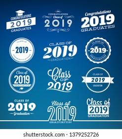Typographic Graduation Designs - Class of 2019 - Graduation Ceremony Label Templates - Collection of Graduation Design Elements