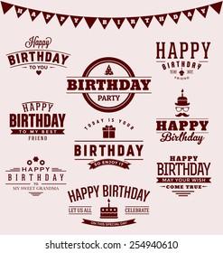 Typographic Happy Birthday Themed Label Design Set