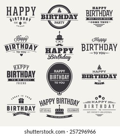Typographic Happy Birthday Themed Label Design Set