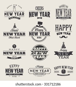 Typographic Happy New Year  Design Set - Trendy Vintage Style Collection