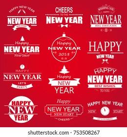 Typographic Happy New Year Design Set