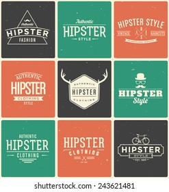 Typographic Hipster Themed Design Elements Set