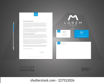 Typographic m symbol. Elegant minimal style corporate identity template with logo. Letter envelope and business card design. Vector illustration.