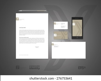 Typographic m symbol. Elegant minimal style corporate identity template. Letter envelope and business card design. Vector illustration.