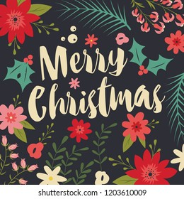 Typographic Merry Christmas card with floral decorative elements, vector illustration