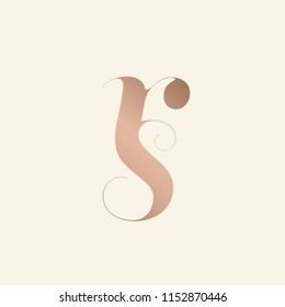 Typographic monogram with letter r and letter s.R&S logo.Vector lettering in rose gold metallic color isolated on light background.