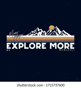 Typographic mountain illustration. Vector graphic for t shirt, sticker and other uses.