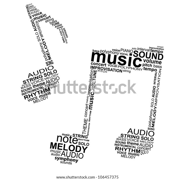 Typographic Musical Notes Vector Illustration Stock Vector (Royalty