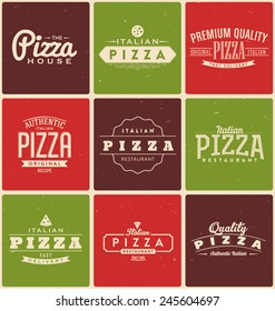 Typographic Pizza Label Design Set